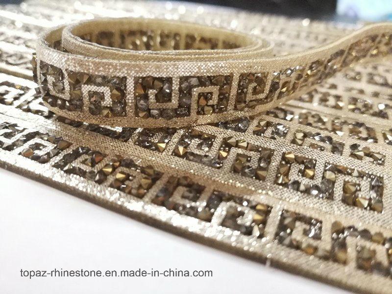 2017 Rhinestone Applique Diamond Chain Crystal Beads Mesh Design (TS-020)