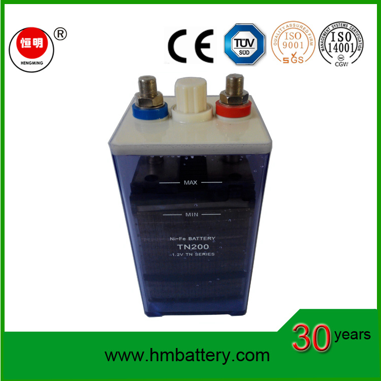 1.2V Nickel Iron/ Ni-Fe Battery Tn200 with 1.2V200ah Used for Solar Home