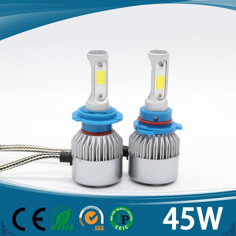 3 Sides Update COB LED Headlight Kit 3000k 12V DC H1 H4 H7 9005 9006 LED Headlight