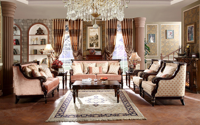 American Antique Fabric Sofa with Classic Table Set for Home