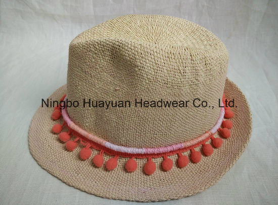 100% Paper Hand Woven Band Tassel Fedora Straw Hat