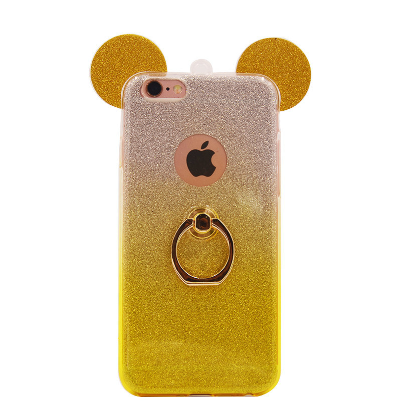 TPU with Ring Flash Powder Gradient Mickey iPhone 6 7 7plus Case (XSDD-034)