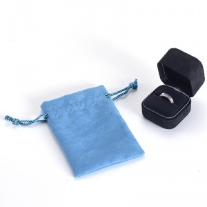 Custom Sky-Blue Exquisite Velvet Drawstring Jewelry Pouch Diamond Pouch