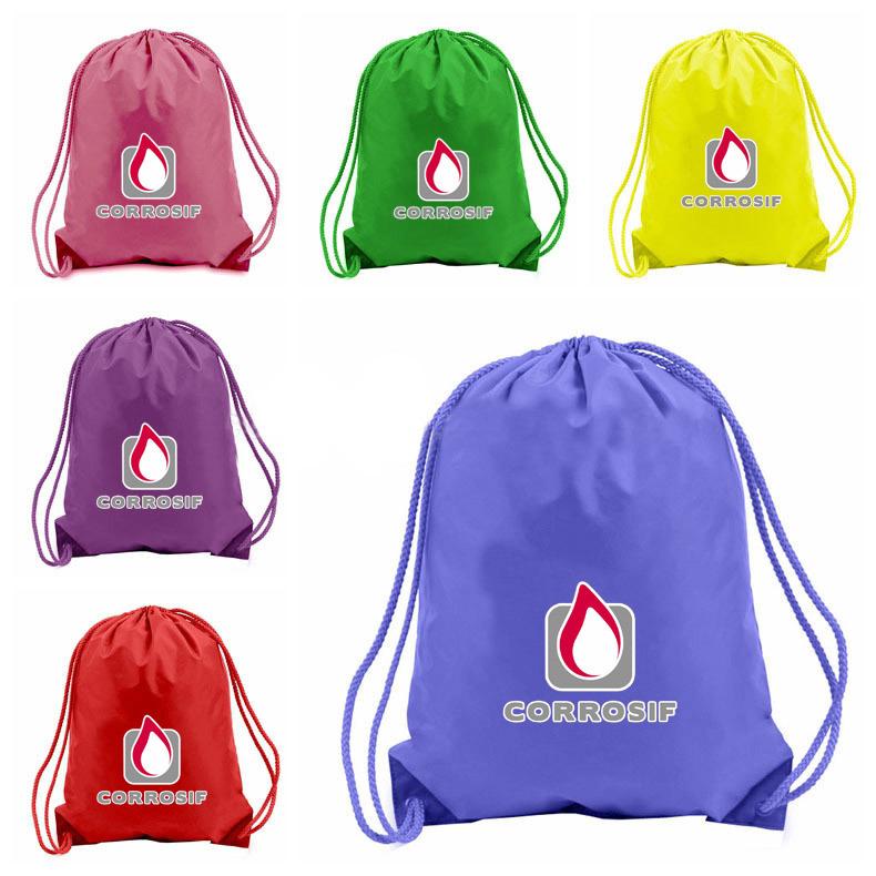 Custom Printed Polyester Waterproof Backpack Drawstring Bag