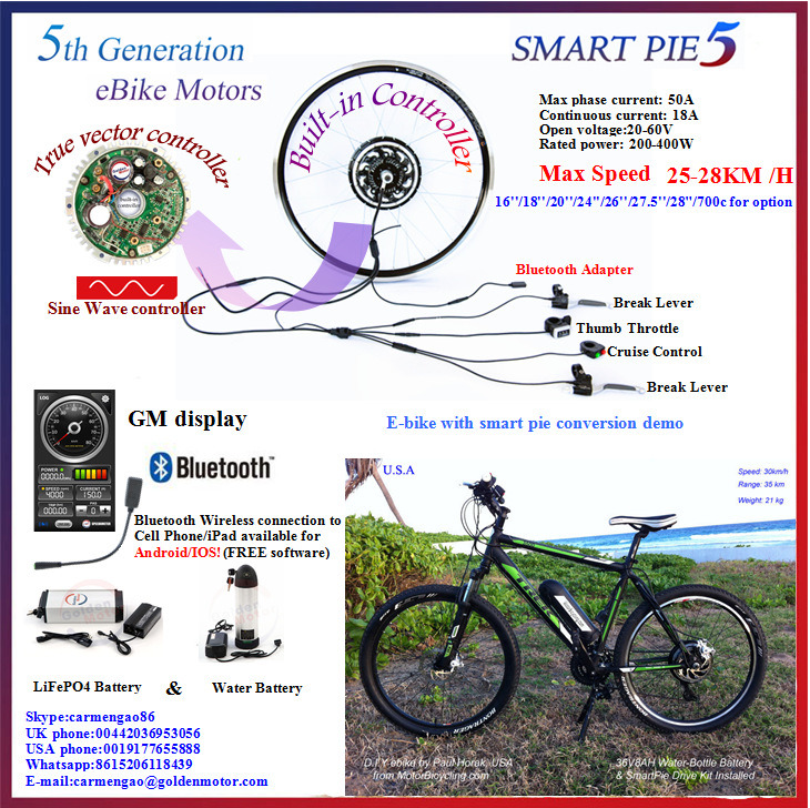 Bluetooth! Golden Motor Magic Pie 5 Hub Motor Electric Bicycle Conversion Kit