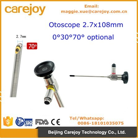 Ent Rigid Otoscope Endoscope Storz Olympus Wolf Compatible 0, 30, 70 Degree Optic Optional-Candice