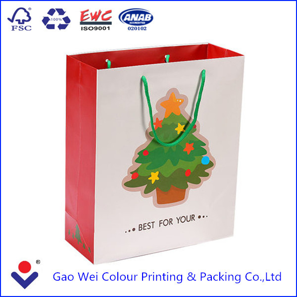 2016 China Factory Professional Custom Printed Hot Sale Christmas Shopping Paper Bag