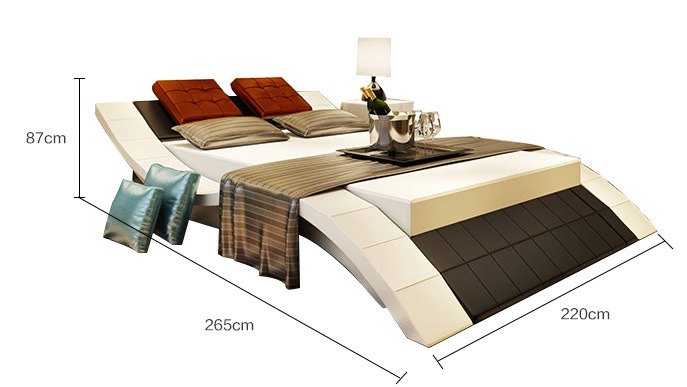 White and Black Genuine Leather Bedroom King Size Soft Bed (HC301)