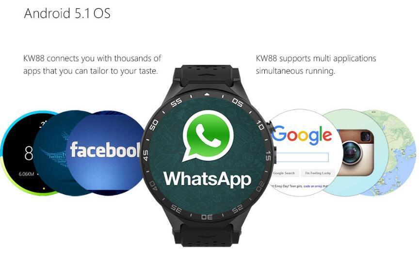 Smart Watch Kw88 Smart Phone Quad Core Pedometer GPS Gravity Sensor White Color