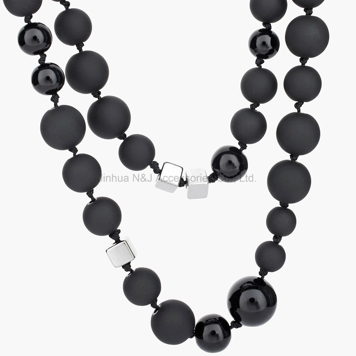 Food Grade Silicone Teething Black Beads Necklace for Mom Baby Silicone Nursing Necklaces with Square Beads