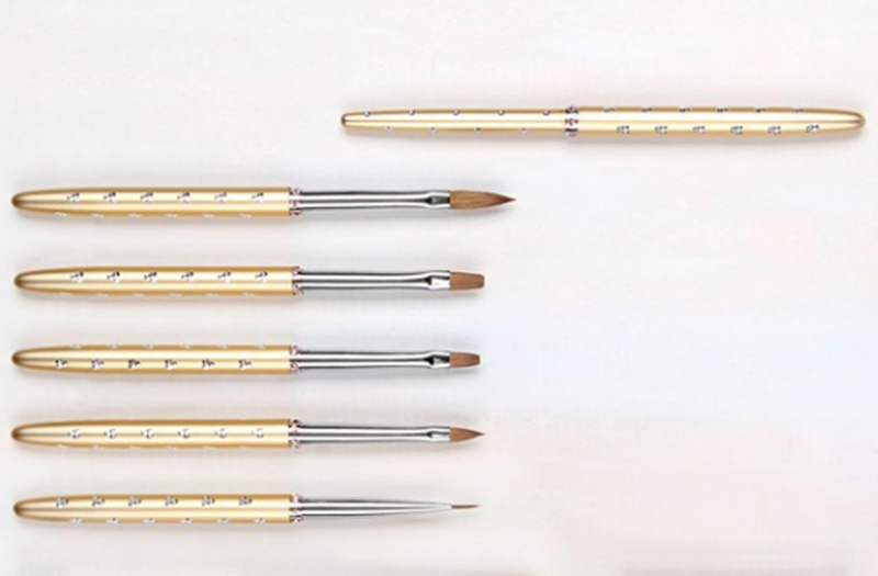 Nickel Plated Brass Ferrule Handle Mink Hair Nail Brush Set