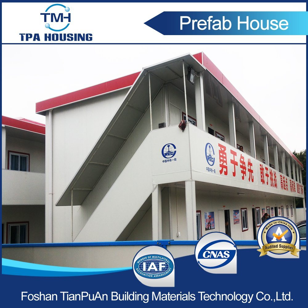 2 Floors Flat Roof Prefabricated Modern Modular House for Labor Camp