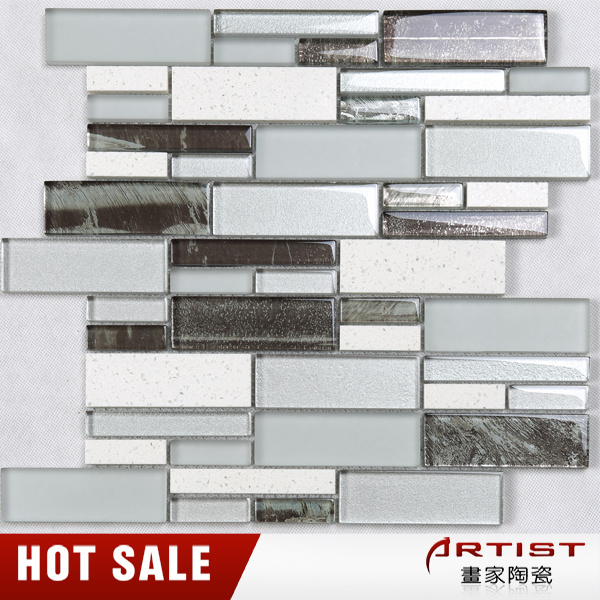 Decorative Brown and White Kitchen Crystal Glass Mosaic Tile for Wall