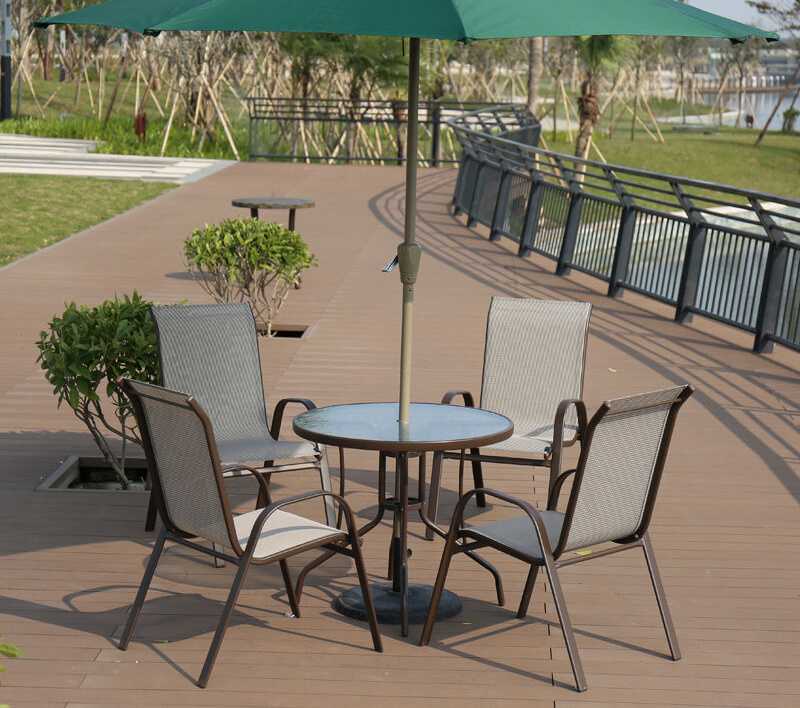 Patio Aluminum Outdoor Home Hotel Office Garden Glass Customized Dining Textilene Table and Chair (J800)