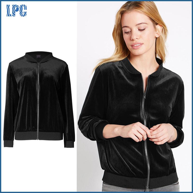 Simple Black Fleece Zipper Lady Jacket