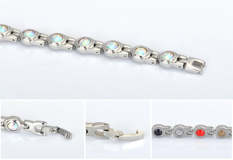 Fashion Multicolor Crystal Bracelet for Lady with Stainless Steel Magnet
