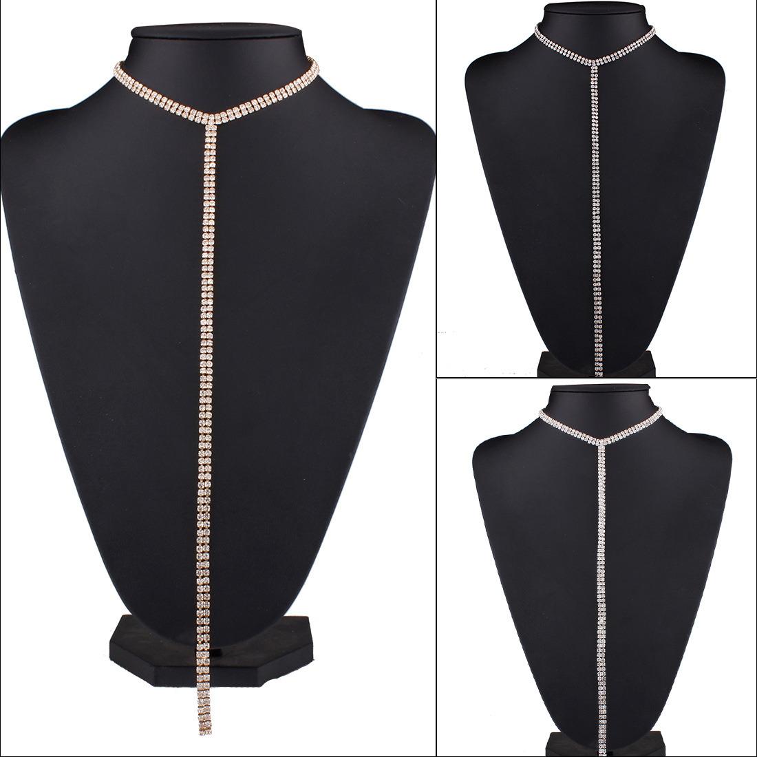 Long Sweater Chain Necklace Fashion Luxury Rhinestone Diamond Choker Necklace Jewelry