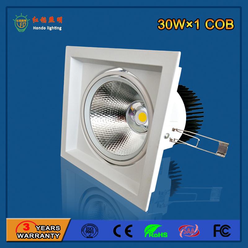 90lm/W 30W Aluminum LED Grille Light for Fashion Shop