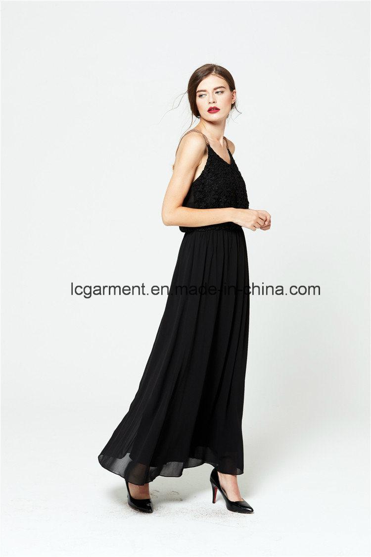 Wholesale Woman Dress Spaghetti Strap Maxi Chiffon Backless Sexy Dress