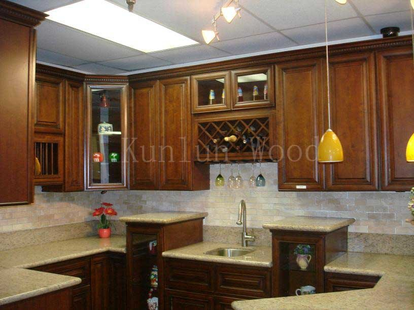 China Kitchen Cabinet Showroom Coffee Bean Maple Photos Pictures