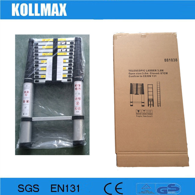 3.8m Telescopic Aluminum Ladder with Stabilizer Bars (KME1038)