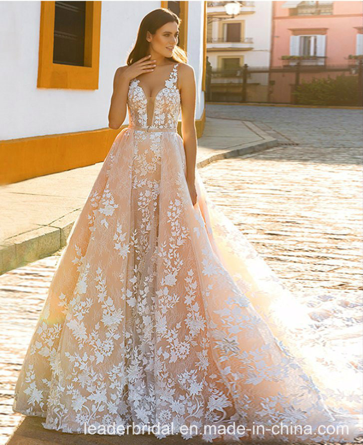 Sleeveless Wedding Dress A-Line Champagne Lace Bridal Gown L1782