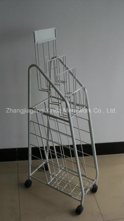 Metal Wire Display with Wire Shelves and Castors