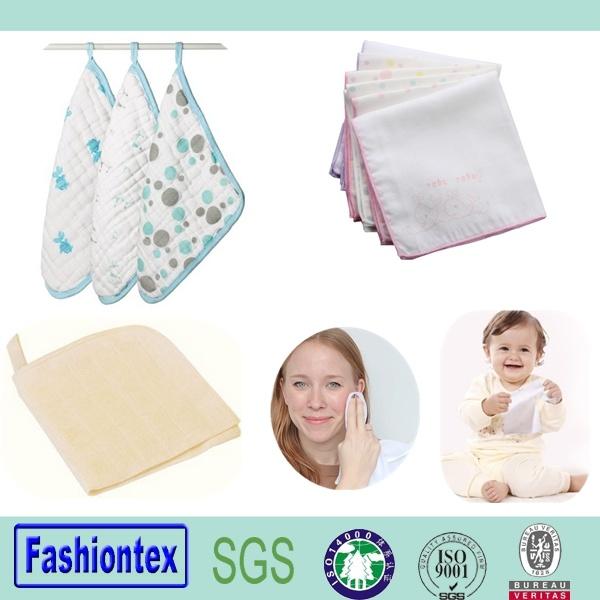 Cotton Muslin Sqaure Small Baby Towel OEM Print Muslin Fabric