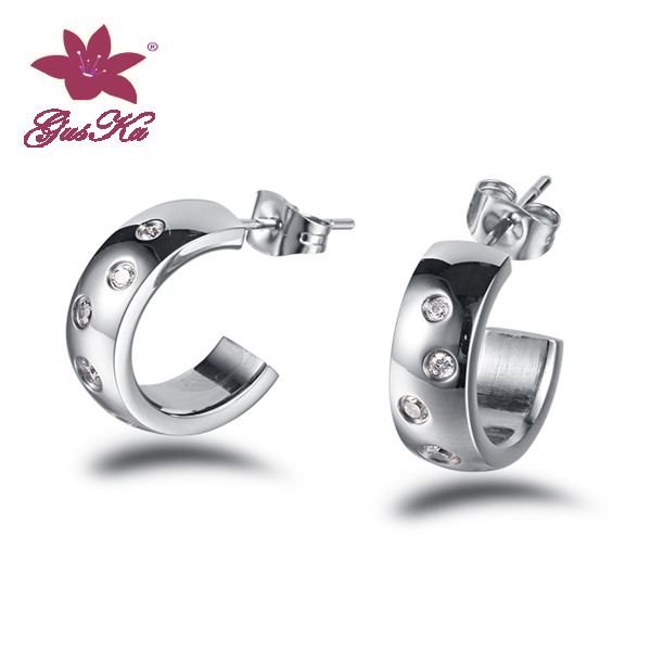 CZ Stones Stainless Steel Fashion Alloy Earrings