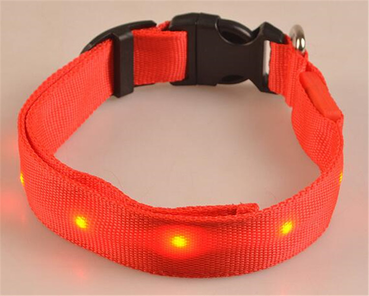 Wholesale Flash Adjustable Dog Pet Collar Safety Nylon LED Cat Collar