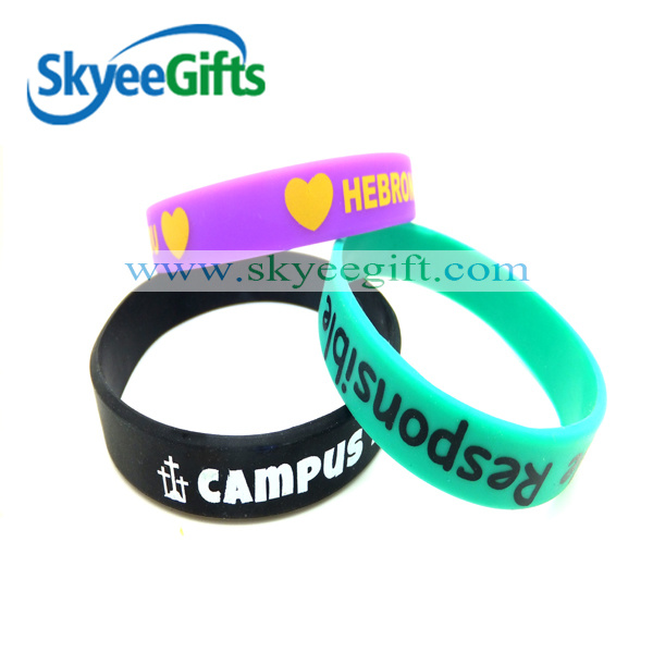 Debossed Filled with Silicone Bracelets