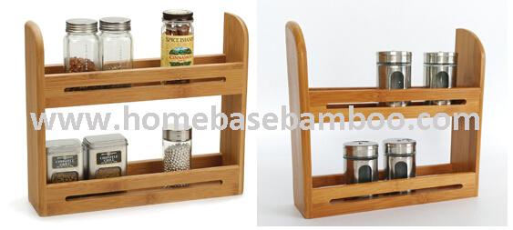 USA Bamboo Spice Rack Shelf Mason Jar Display