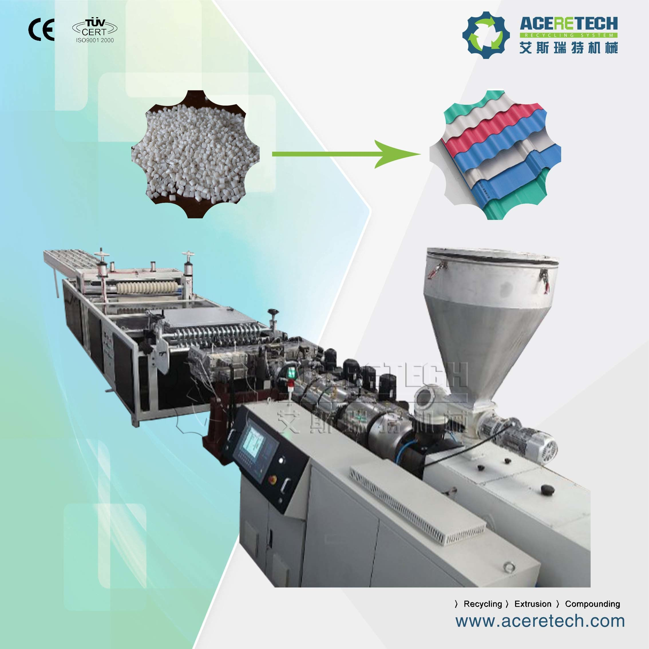 Twin Screw Extruder for PVC Corrugated Tile Extrusion
