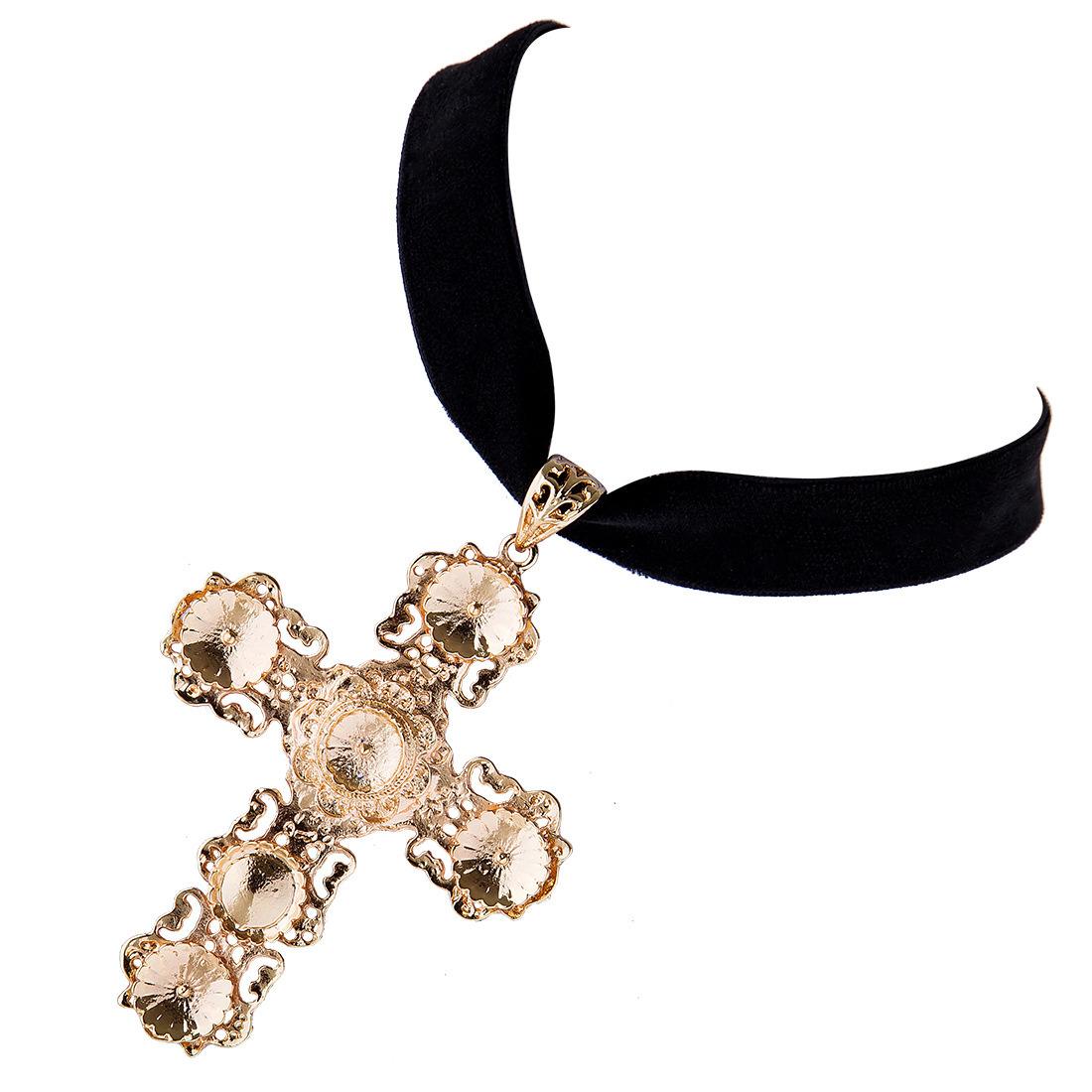 Fashion Female Short Golden Cross Crystal Pendant Velvet Choker Necklace Jewelry