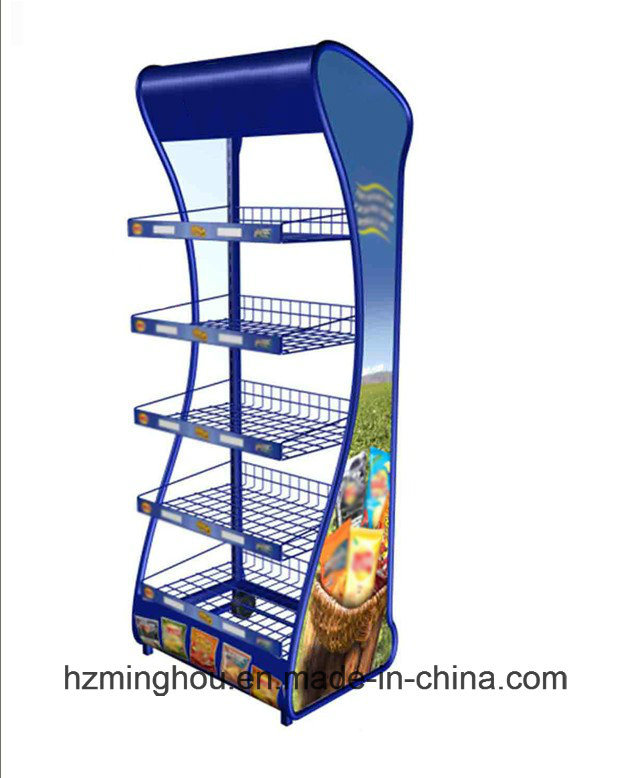 Practical Supermaket Metal Display Rack Food Display Shelf