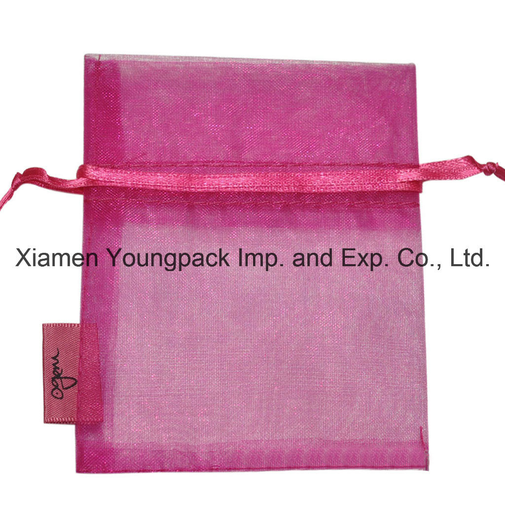 Fashion Promotional Customized Small Hot Pink Organza Jewelry Gift Pouch