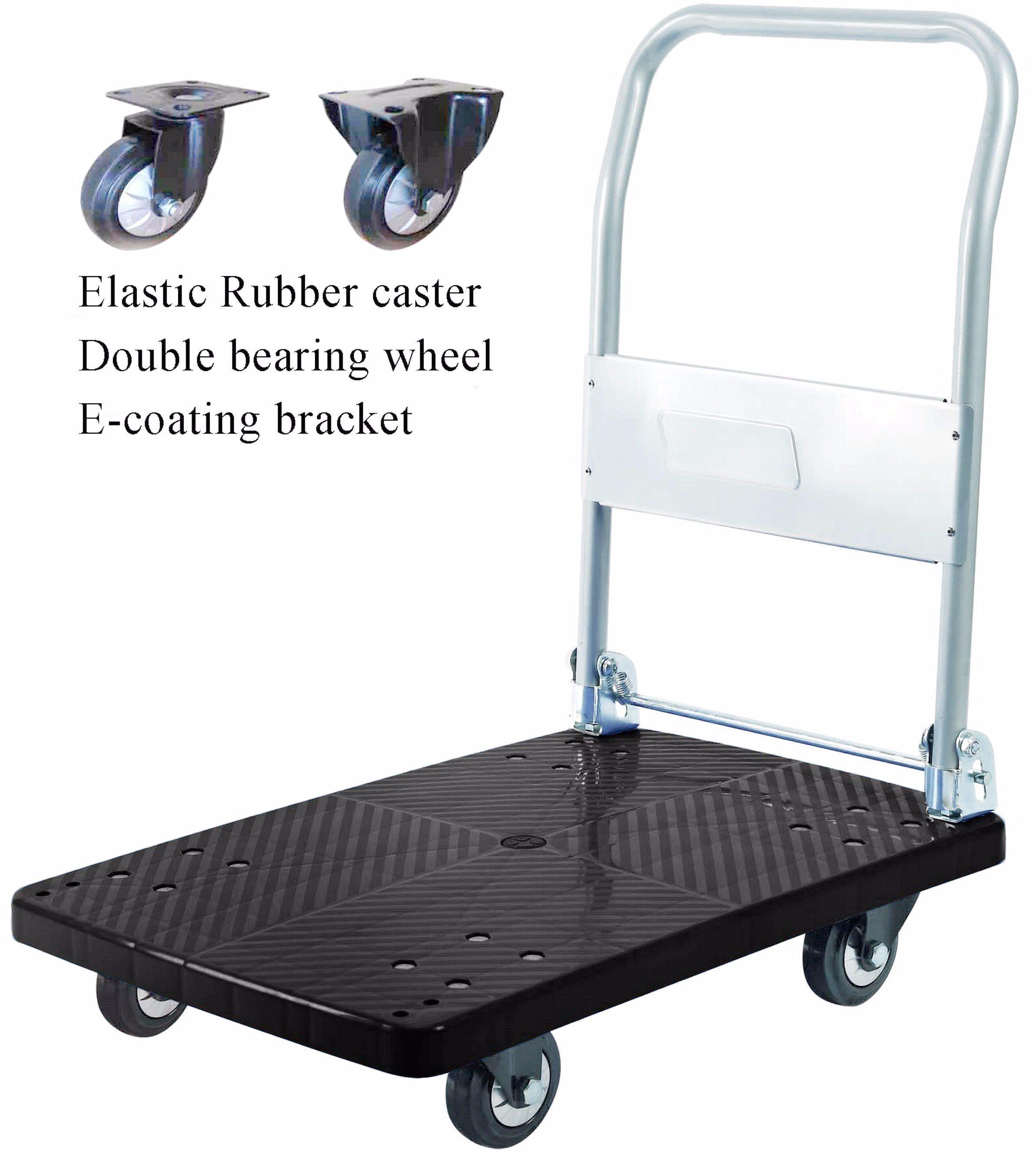 300kg Black Plastic Platform Hand Truck Foldable Noiseless Trolley