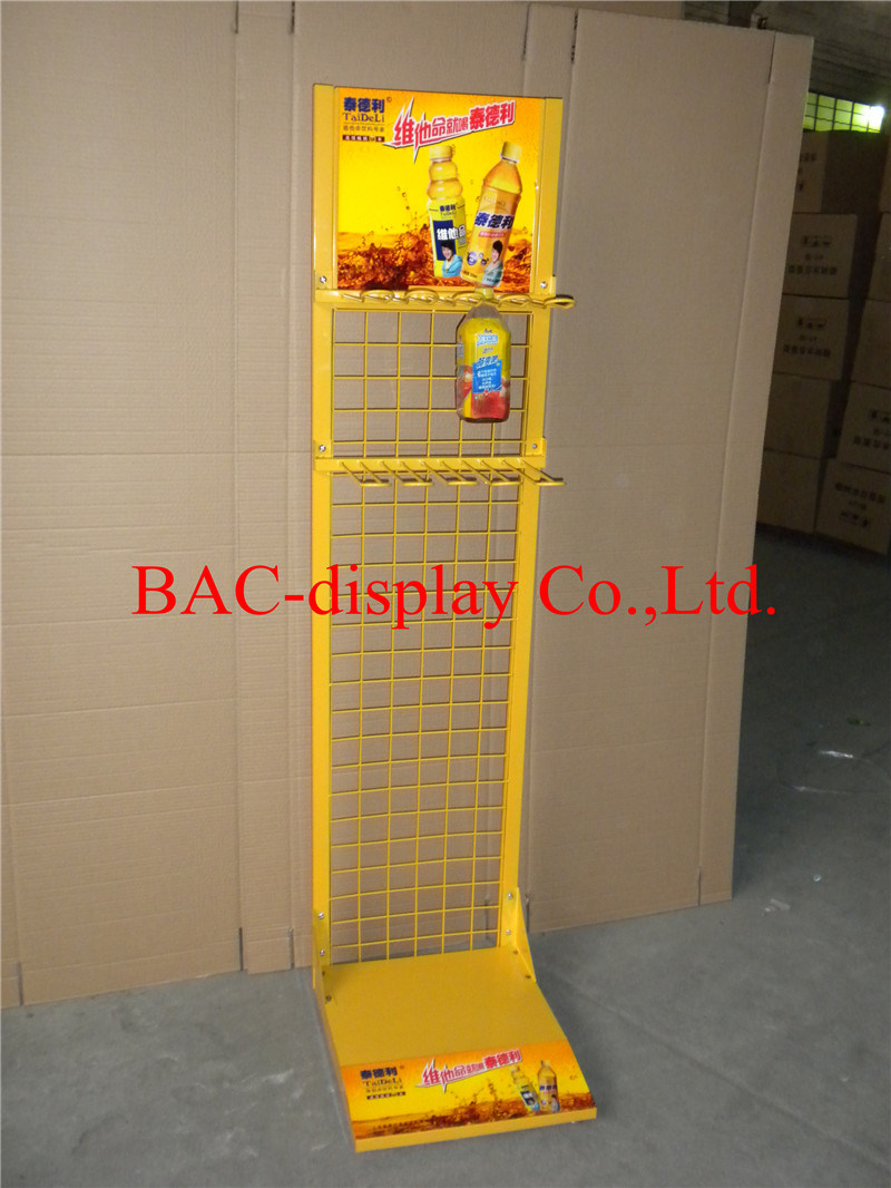 Retail Store Metal Beverage Display Racks / Drink Display Stand / Juice Display Shelf