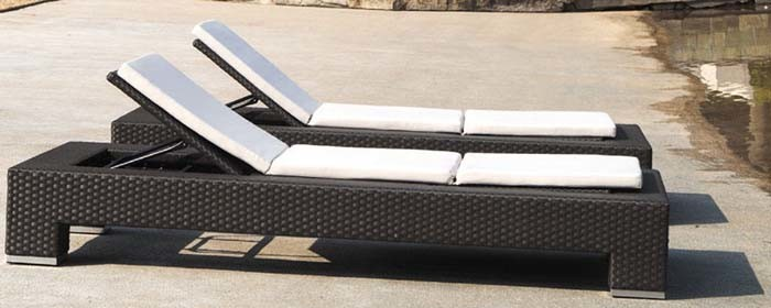 Garden Rattan/Wicker Sun Lounger for Outdoor Furniture (LN-103)