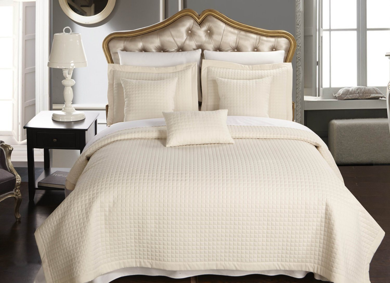 Home/Hotel Checkered Quilt California-King Size Coverlet 3PC Set (DPF1074)