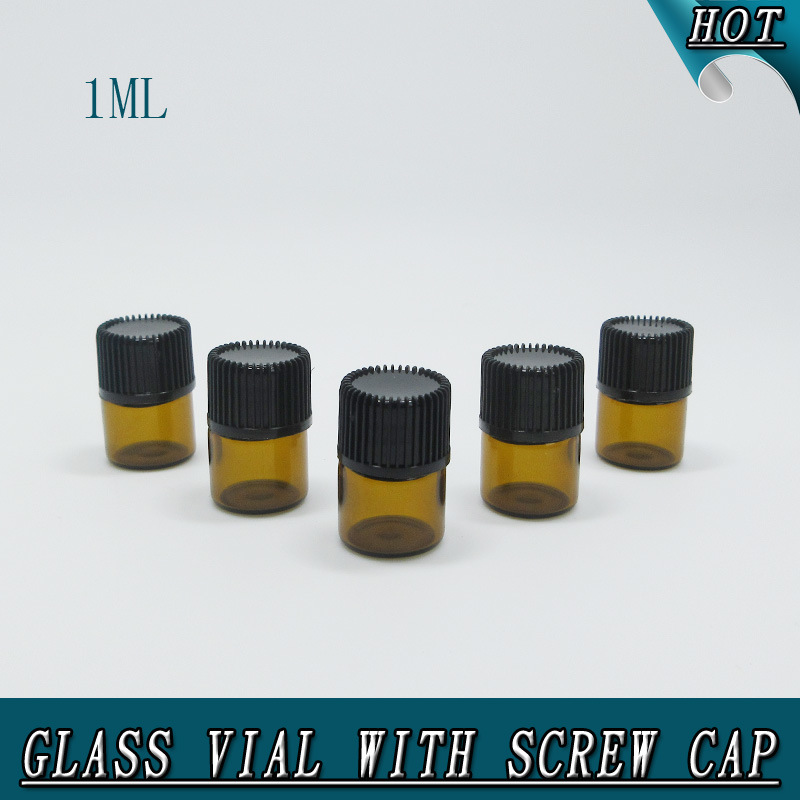 1ml 1/4 DRAM Small Amber Orifice Reducer Sealing Glass Bottle Glass Vial