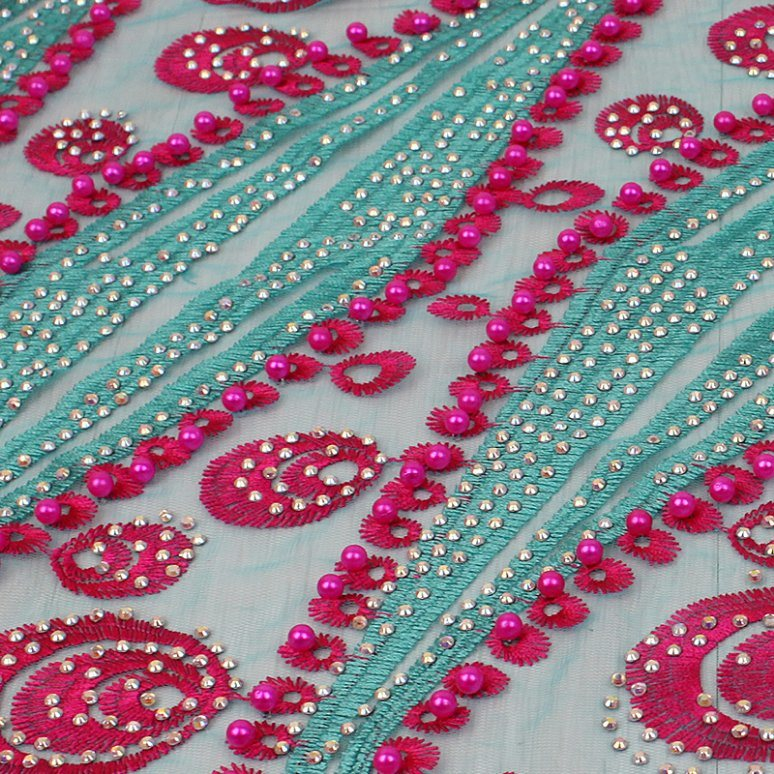 Newest Tulle Beaded Heavy Lace Fabric