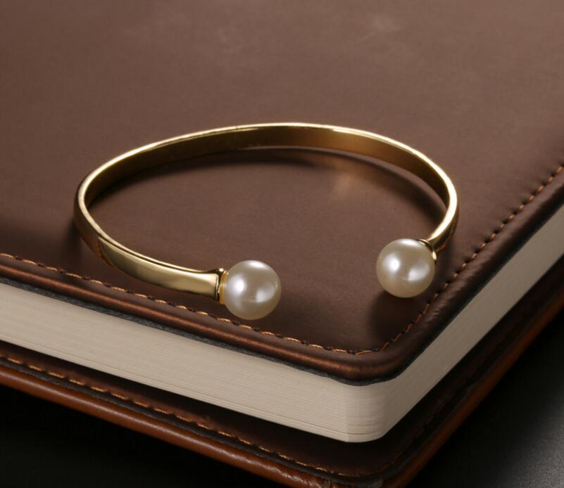 Fashion Women Stainless Steel Pearl Jewelry Bracelet Cuff Bangle