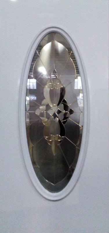 Steel Door with Big Oval Decorative Glass
