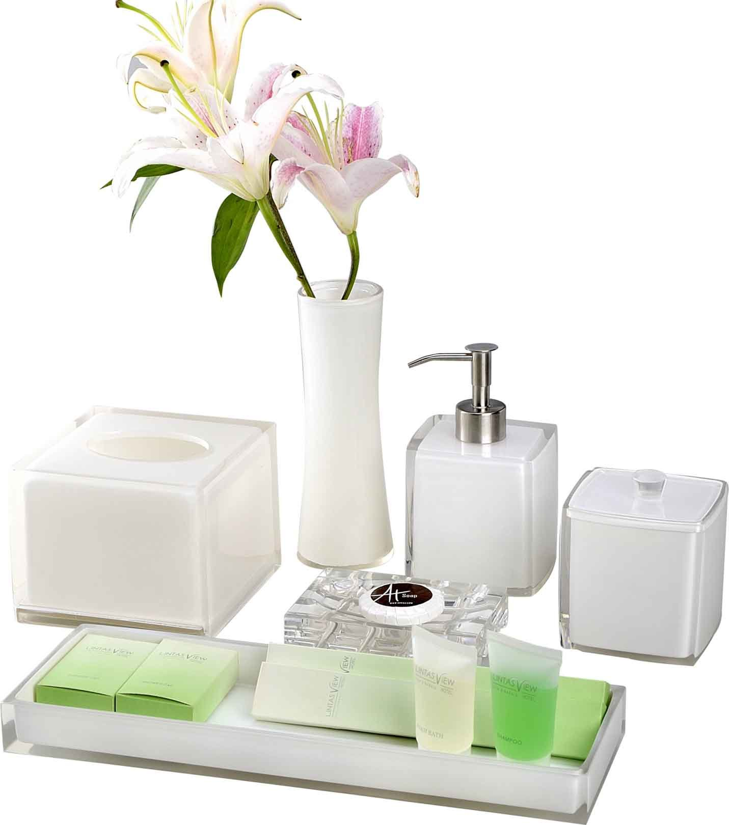 White Crystal Amenities Holder Set Hotel Balfour Bathroom Accessories Set