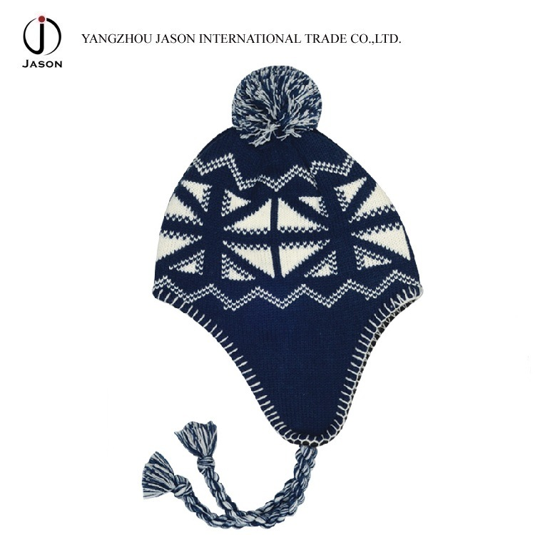 Winter Ear Flap Hat Warm Ear Flap Kitted Hat Acrylic Knitted Beanie Acrylic Knitted Toque Ear Flap Bobble Hat