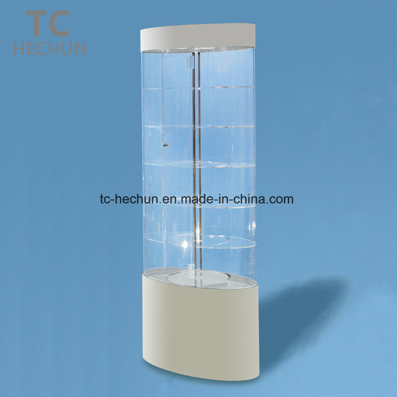 Oval Power-Driven Rotating Acrylic Display Cabinet