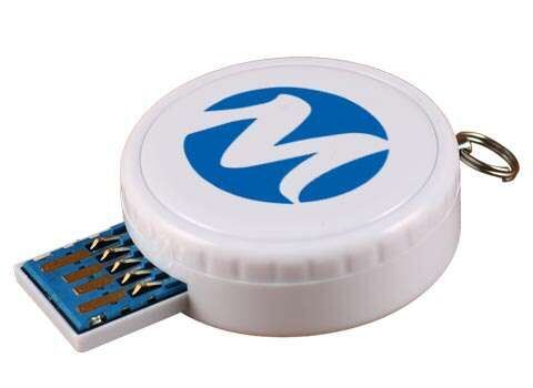 Round Custom Retractable USB Flash Drive with Epoxy Dome Label Can Do USB 3.0