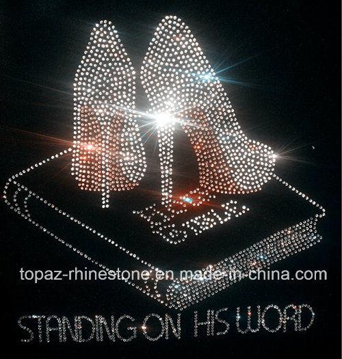 Fashion High Heel Shoes Rhinestone Heat Transfer Motif for T Shirt