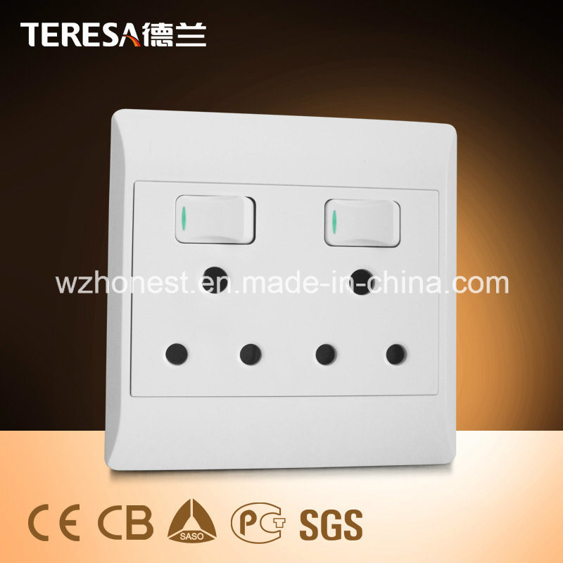 South Africa Standard 6 Round Hole Wall Switch Socket